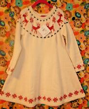 NWT Hanna Andersson Dear Deer Sweater Dress 120 US 6-7 & NIB Matching Tights 5-6