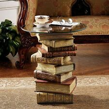 Ng32069 Power of Books Sculptural Glass Topped End Table - New!