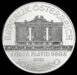 2021 Platinum 1 oz .9995 Austria 100 Euro Philharmonic Coin Brilliant UNC+
