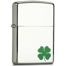"Zippo ""Shamrock"" High Polish Chrome Windproof Lighter #24007 --- Free Ship"
