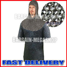 MEDIEVAL FLAT RIVETED CHAINMAIL SHIRT WITH COIF CHAIN MAIL HAUBERGEON COSTUME