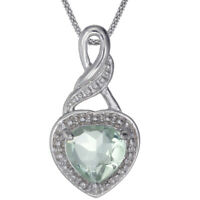 Silver Green Amethyst Heart Pendant (1 CT) With 18 Inch Chain