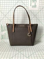 Michael Kors Ciara Large EW Shoulder Bag Zip Top Brown PVC Signature Tote