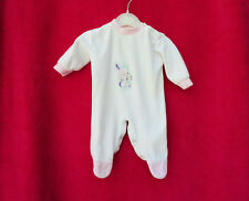 BABYGROW  WHITE  WITH PINK TRIM  SIZE 0 - 3 MONTHS RABBIT ON THE FRONT  VGC