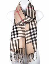 Women Pashmina Silk Scarf Plaid Checker Pattern Long Soft Shawl Wrap Cape Spring
