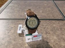Men Timex Expedition Field Brown Leather Strap Black Case Olive Watch T47012 WF