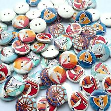50pcs Craft Anchor Helm DIY Sailboat Wooden Buttons 2 Holes Round Sewing