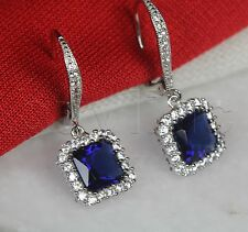 4.68Ct/Pair Princess Nickel Free 925 Silver Dangle Leverback Blue Halo Earrings