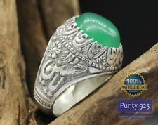 Ya Imam Hussain Men Ring 925 SILVER Yemeni green AQEEQ ahlulbayt ehlibeyt Shia