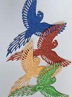8 Die Cut Parrots bird Glitter Card topper, Scrapbooking Tropical Party Bright