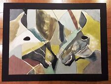 JESUS URBIETA HUGE 49 X 37 INCH ORIGINAL -HORSES- OIL ON THICK PAPER PAINTING