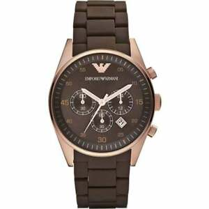 **NEW** EMPORIO ARMANI AR5890 ROSE GOLD BROWN CHRONO SPORTS WATCH  - RRP £299