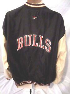 Vintage Chicago Bulls NBA Mens Jacket Sz XL Black Reebok Basketball Zip CC15