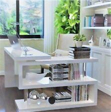 Hochglanz Büro Schreibtisch Modern Weiß Computertisch Sekretär Eckschreibtisch