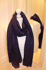Navy Blue 100% Pure Cashmere Wool Scarf Shawl Wrap Nepal Handmade Fine Knit Warm