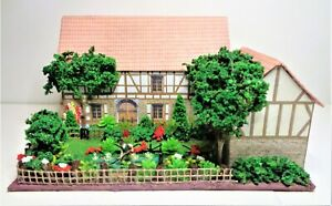 OO gauge tudor cottage shed man trees flowers fence  for Hornby train layout