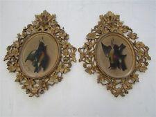 Pair of M. Meucci Trompe L'oeil 1871 Song Birds in Rare Florentine Gilt Frames