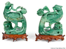 La Chine 20. JH. oiseaux-a pair of Chinese CArved hardstone Birds-cinese chinois