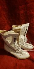 White Victorian Boots - Sz 40 heels, lace-up front, lace sides, brand new