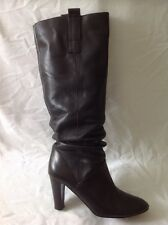 Zara Black Knee High Leather Boots Size 39