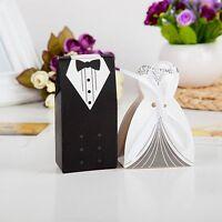 Nice 100pcs Tuxedo Dress Groom Bridal Wedding Favor Gift Candy Boxes Ribbon