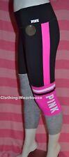Victoria's Secret PINK VS Gray Black Logo Ultimate Bonded Crop Leggings Pants M