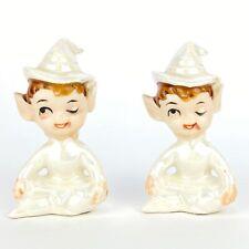 2 Vintage Artmark Elf Pixie Figurined Pearl Luster Finish Sitting Winking Japan