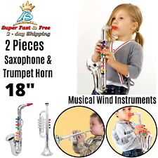 Kids Toy Real Sound Musical Wind Instruments With Saxophone Trumpet Horn 2 Pcs