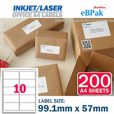 200 x 10 up 99.1 x 57mm Peel Paste Label A4 Office Mailing Address label 10UP