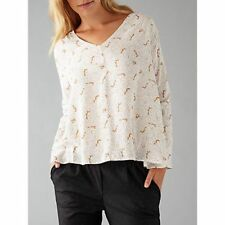 HARRIS WILSON - NEW - Fox Print V Neck Loose Fit Blouse Top - Size 8/10