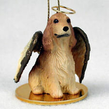 English Cocker Spaniel Dog Figurine Angel Statue Ornament Blonde