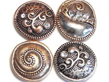 4 - 2 HOLE SLIDER BEADS METAL BOHEMIAN ABSTRACT TRI COLOR SILVER, ROSE & COPPER