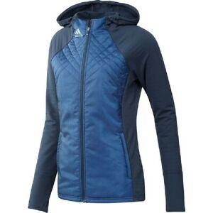 NEW Womens Adidas Hybrid Quilted Full-Zip Jacket Crew Navy  - Choose Size!