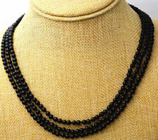 "100% Genuine natural 3 rows 4 mm natural black onyx bead necklace 17-19"" AAAA+"