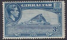 Gibraltar King George VI 1938 3d Blue Perf 14 MLH  SG 125a