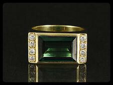 Turmalin Diamant Ring mit kleiner Ringweite Goldschmiedearbeit   7,5g 585/- GG