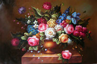 """Art oil painting nice still life roses flowers in pottery vase on table 24""""x36"""""""