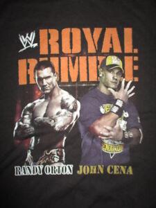 """ROYAL RUMBLE"" RANDY ORTON v JOHN CENA (LG) T-Shirt CM PUNK REY MYSTERIO THE MIZ"