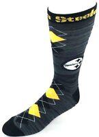 Pittsburgh Steelers NFL Black RMC Black Yellow Fan Nation Crew Socks Logo Leg