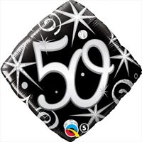"FOIL BALLOON 18""(45CM) 50th Birthday Elegant Sparkles & Swirls QUALATEX FOIL ..."