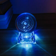 Solar System Planet Crystal Ball with Colourful Light Effect Base Home Decor