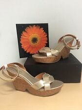 FADED GLORY Gold Metallic Ankle Strap Platform Wedge Sandals Size 11 GUC