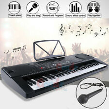 Digital Piano Keyboard 61 Key - Portable Electronic Instrument with Mic & Stand