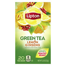 New listing Lipton Green Tea Bags Lemon Ginseng 20 ct, 4 pack