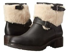 Nib $398 Coach GABRIELLA Shearling/Leather Ankle Boot Bootie Shoe Black 5.5