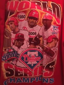 Vintage PHILLIES WORLD SERIES T Shirt-XL-2008-Long Sleeve