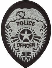 Novelty (U-N301A) Police Officer Badge with Star Patch Gray and Black