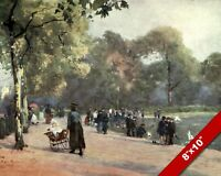 BEAUTIFUL DAY AT THE SERPENTINE OLD LONDON ENGLAND BRITISH ART REAL CANVAS PRINT