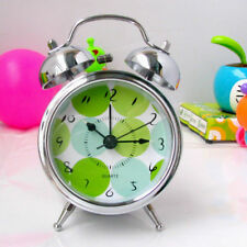 Vintage Metal 2.5-inch Silent Double Bell Wind Up Alarm Clock Loud Night Light