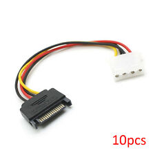 """10pcs 6"""" Inch 4-pin Molex Female  to 15-pin SATA Male Power Cable Adapter"""